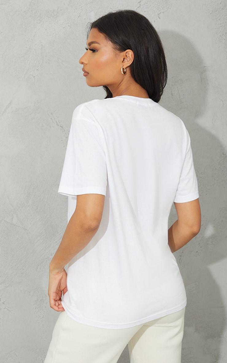 PRETTYLITTLETHING White Wellness Club Printed Oversize T Shirt 2