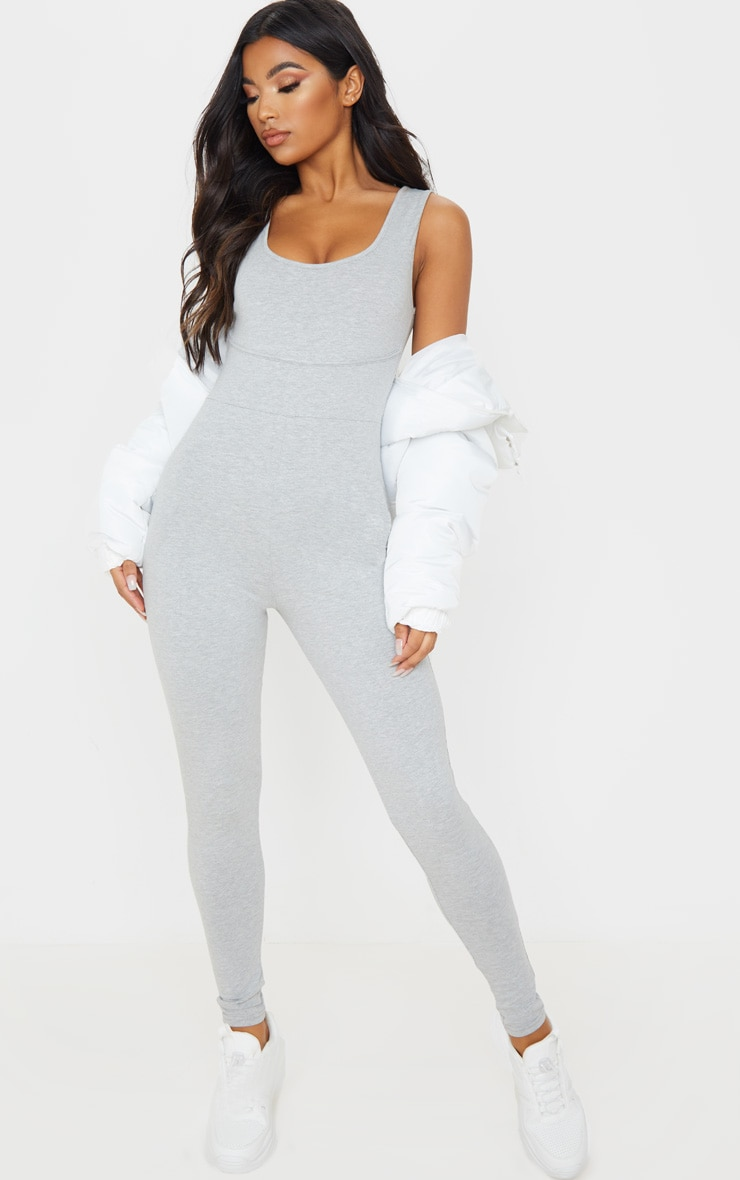 Grey Binding Scoop Neck Jumpsuit 1