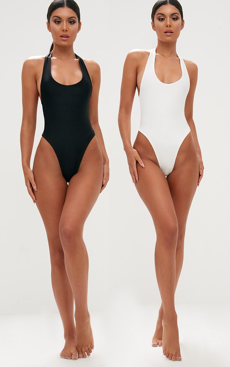 Black/White 2 Pack High Leg Swimsuit 1