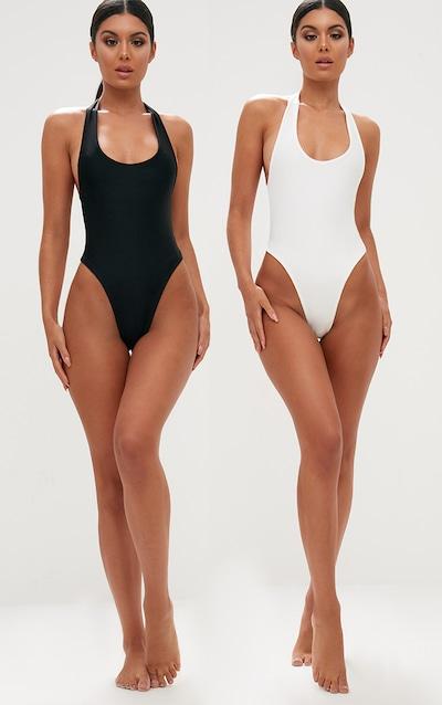 cd95bfe286 Black White 2 Pack High Leg Swimsuit