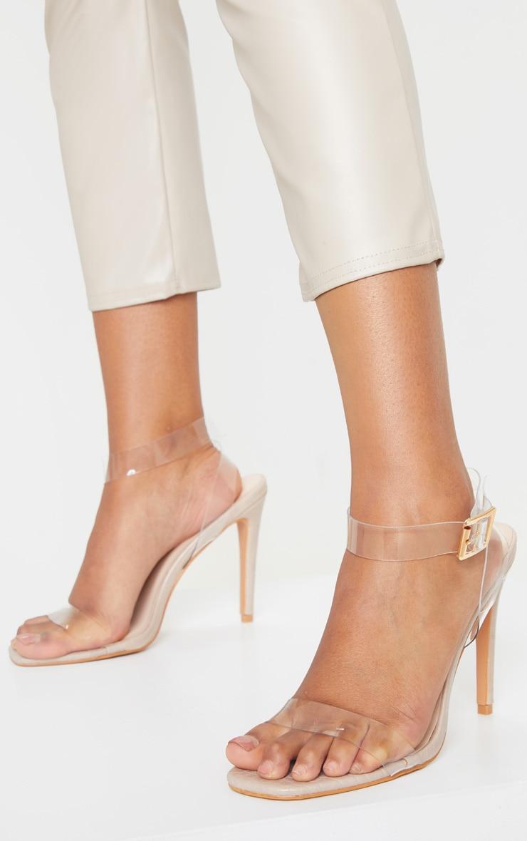Nude Croc Clear Strap Square Toe Heeled Sandal 2