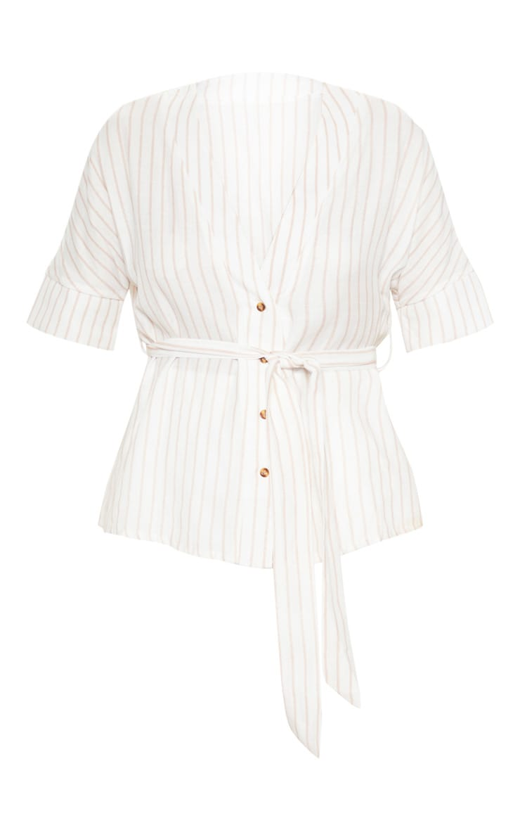 Pink Stripe Printed Short Sleeve Tie Waist Shirt 3
