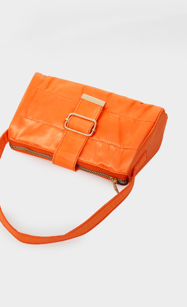 Orange Satin Buckle Shoulder Bag 3
