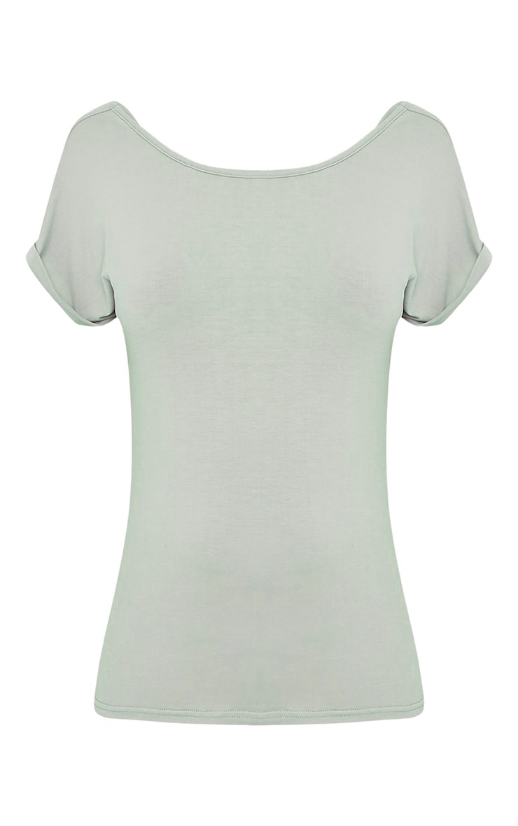 Bea Sage Green Multi Way Cowl Neck T Shirt 3