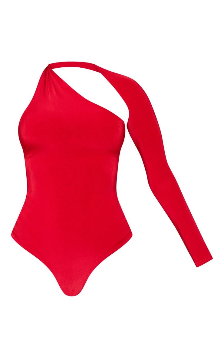Red One Shoulder Asymmetric Bodysuit 3