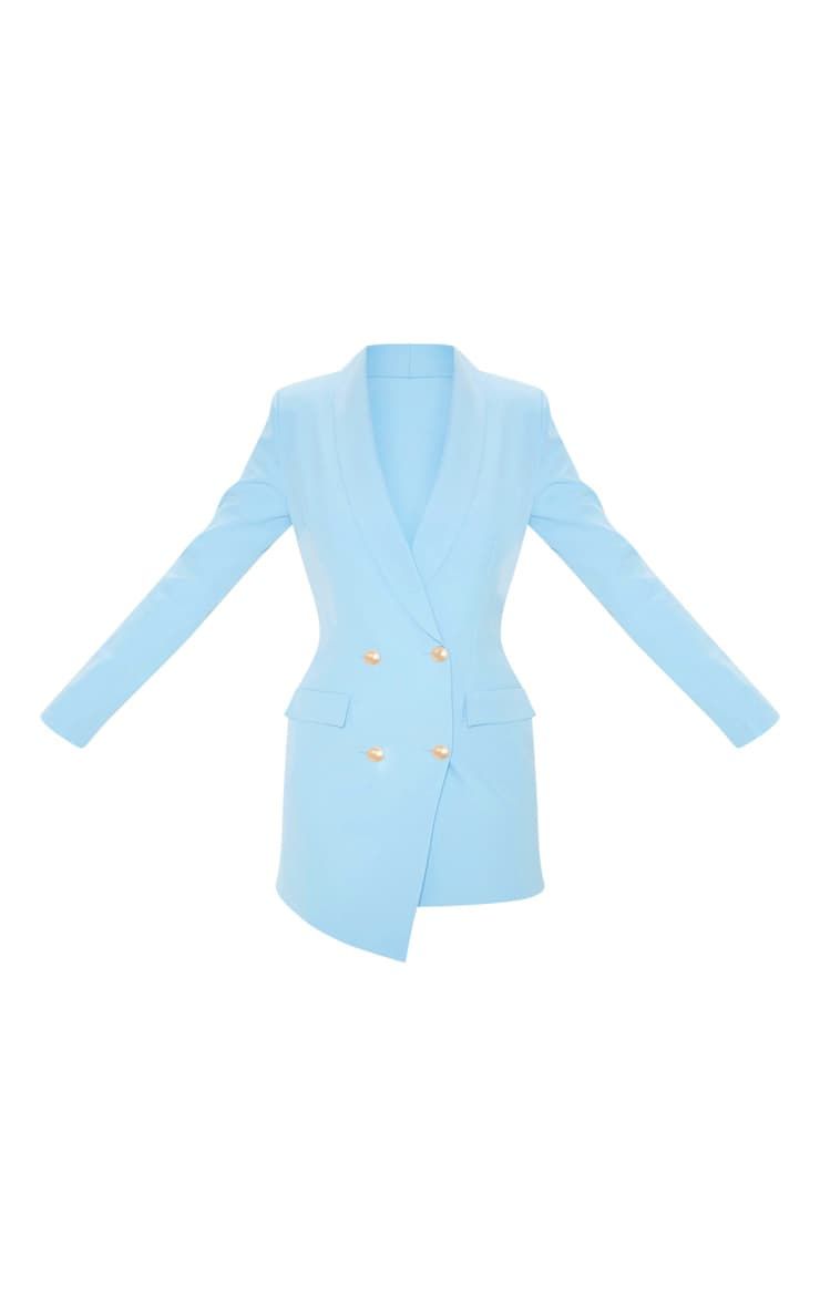 Baby Blue Gold Button Blazer Dress 3