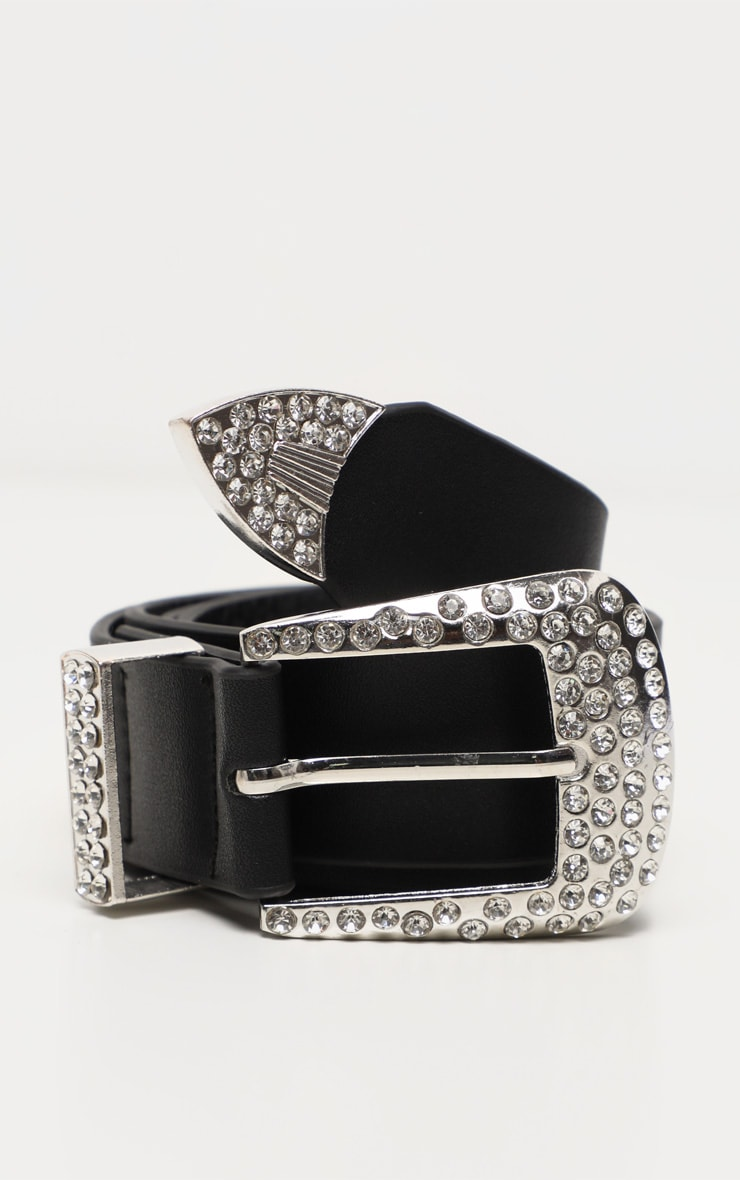 Silver Diamante Western Buckle Black Pu Belt 3
