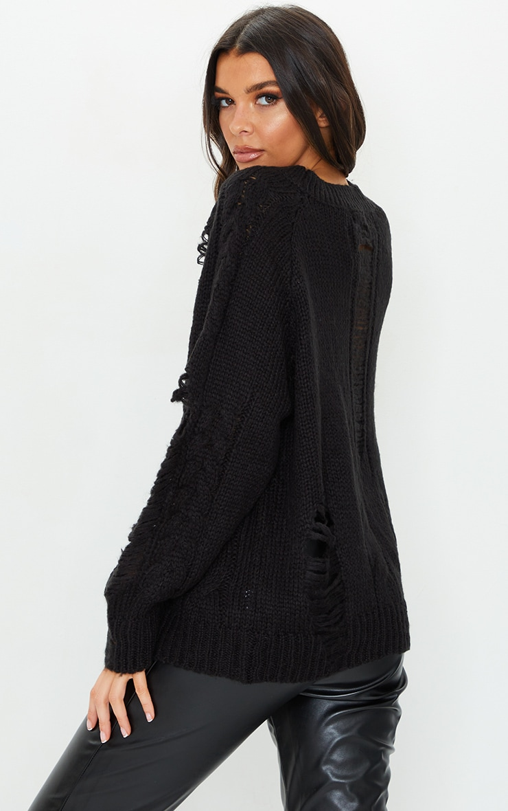 Black Distressed Cable Knit Oversized Sweater 2