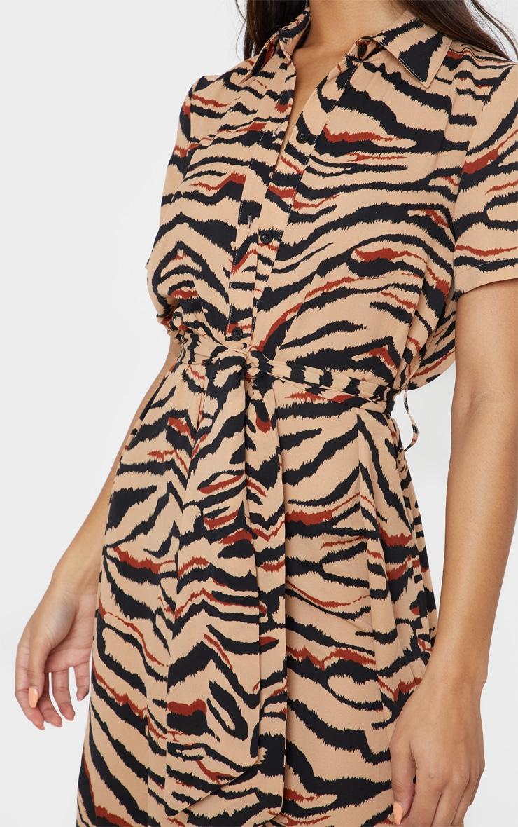 Camel Tiger Print Short Sleeve Midi Shirt Dress 5