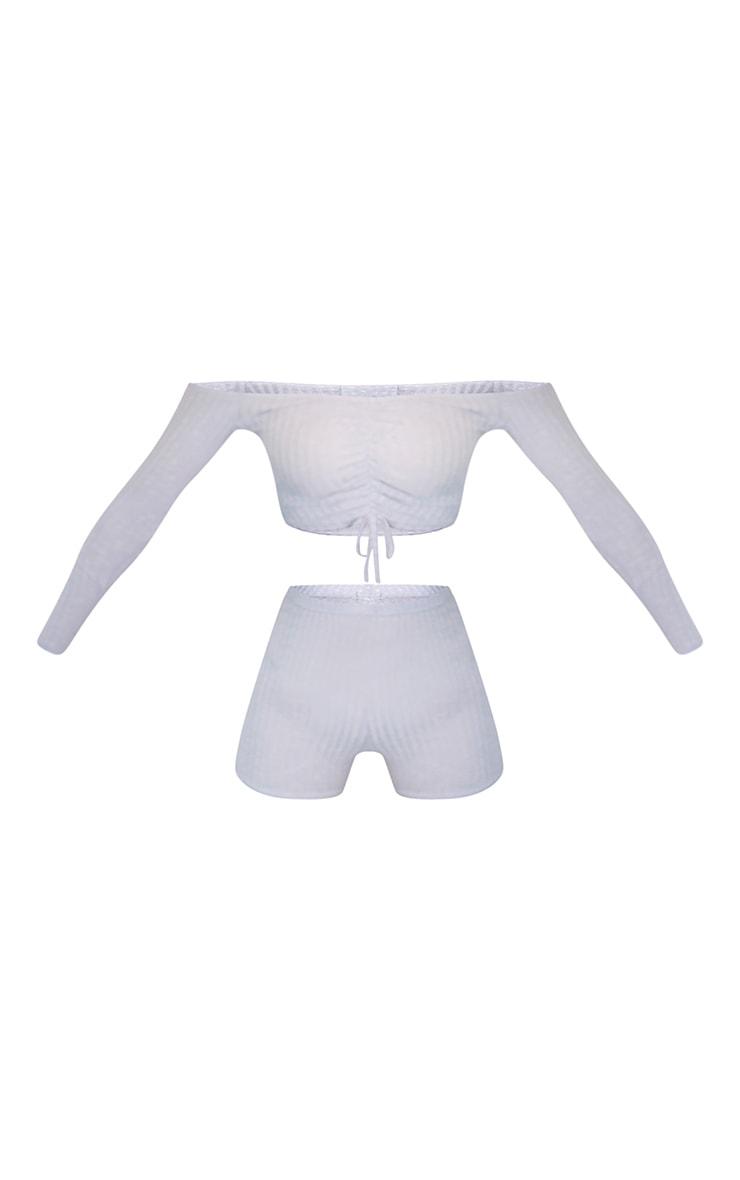 Grey Ruched Bardot Rib Knitted Short Set 5