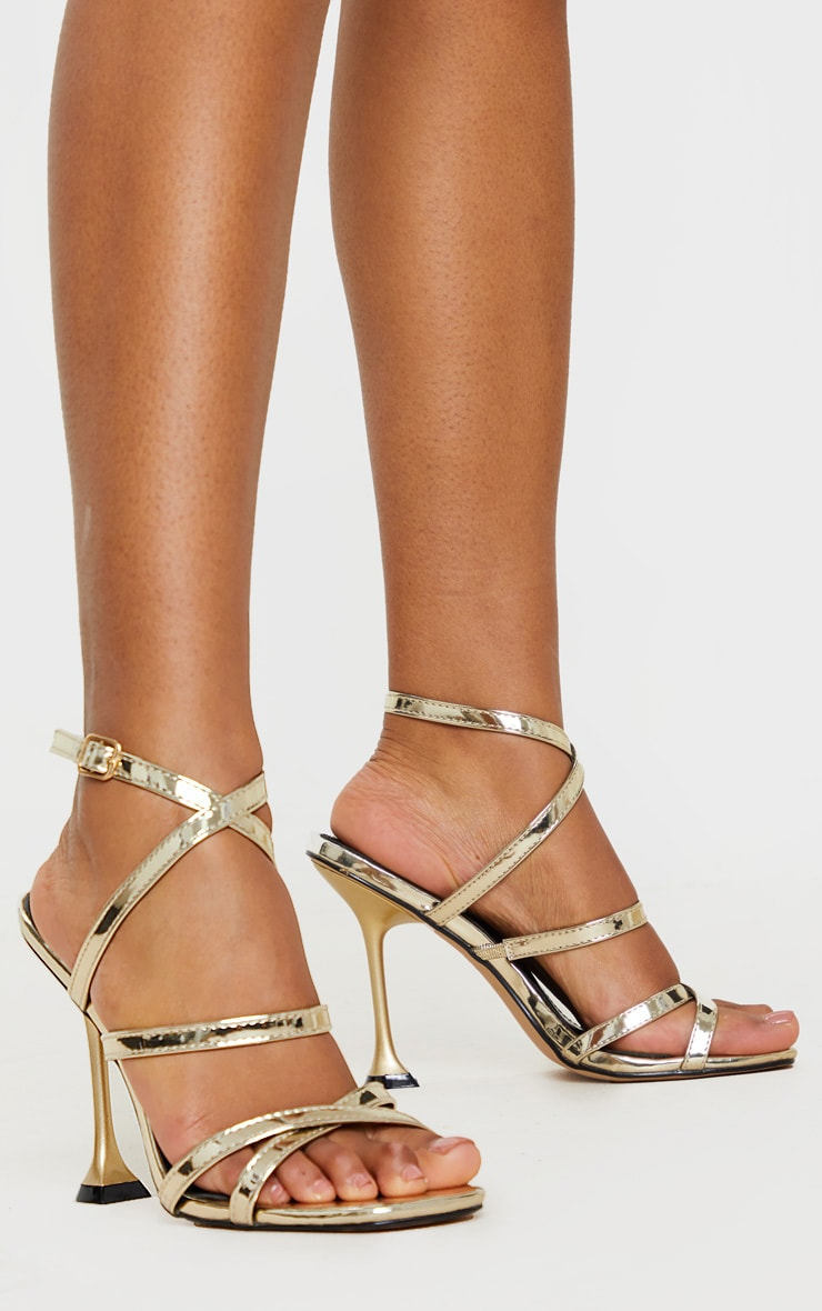 Gold Strappy Cake Stand Heel Square Toe Sandal