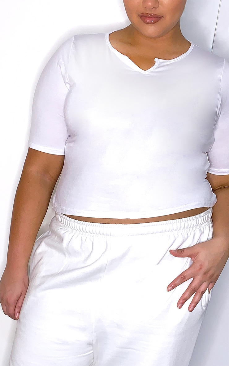 Plus White Jersey V Neck Long Crop Top 4