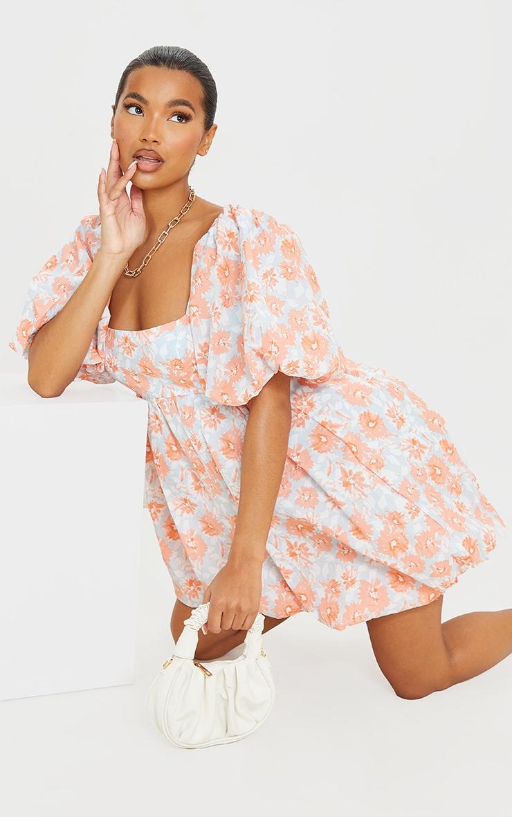 Peach Floral Print Puff Sleeve Puffball Dress 3