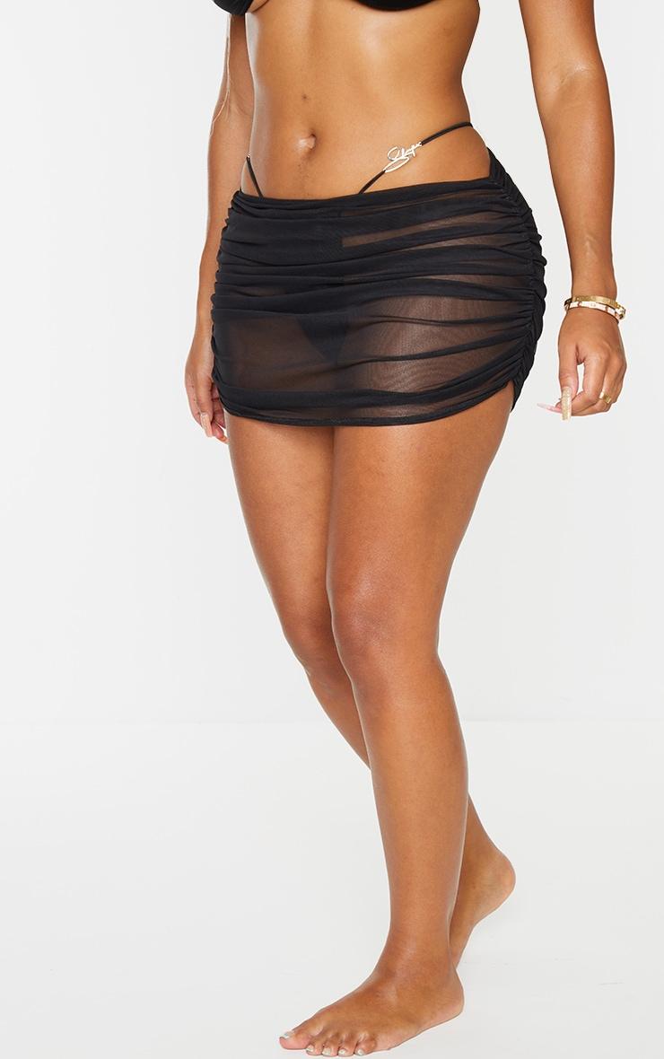 Shape Black Mesh Ruched Beach Skirt 2