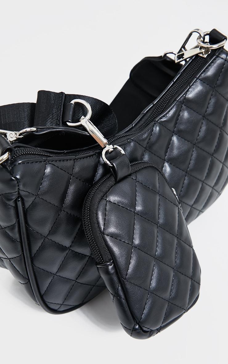 Black Quilted Diamond Cross Body Bag 2