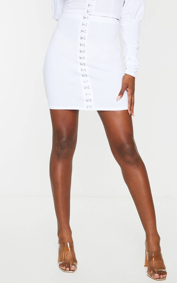 White Hook & Eye Mini Skirt 2