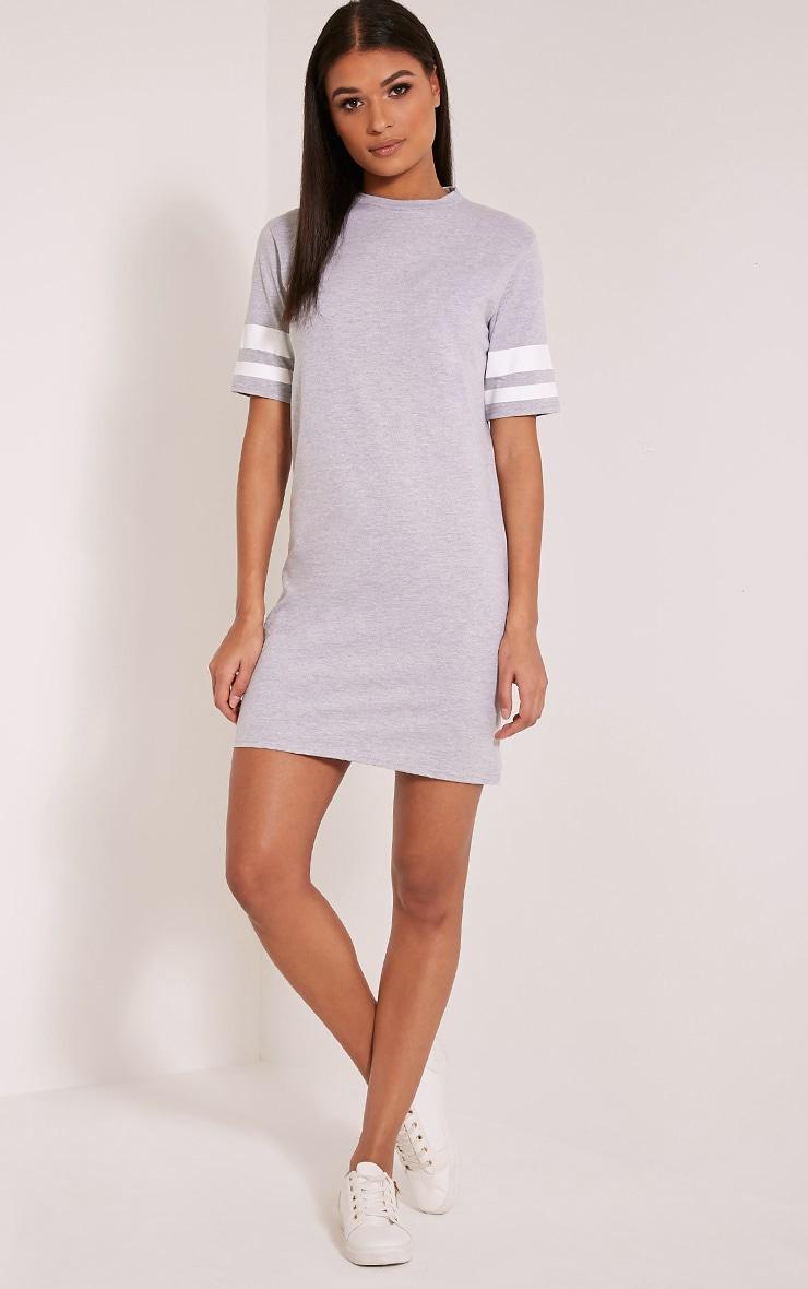 Taylia Grey Stripe Sleeve T Shirt Dress 5