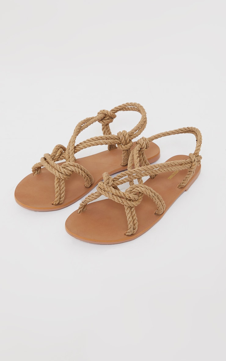 Natural Rope Detail Round Toe Sandals 3