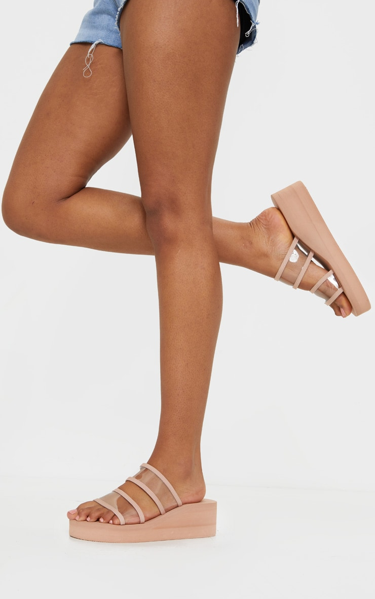 Nude Clear Twin Strap Flatforms 2