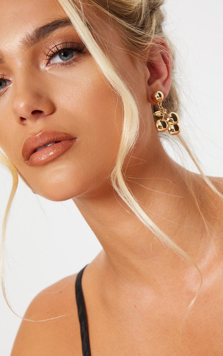 Gold Cherry Drop Earrings 1
