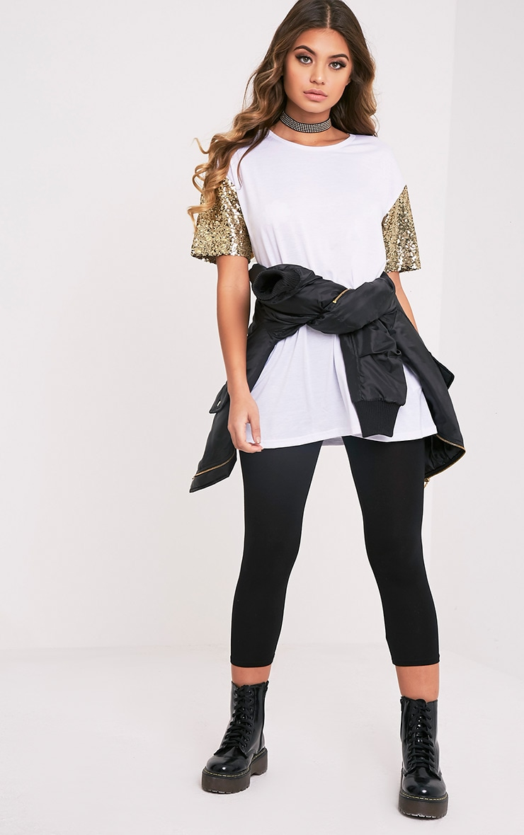 Rei White Sequin Sleeve Jersey Oversized T Shirt 5
