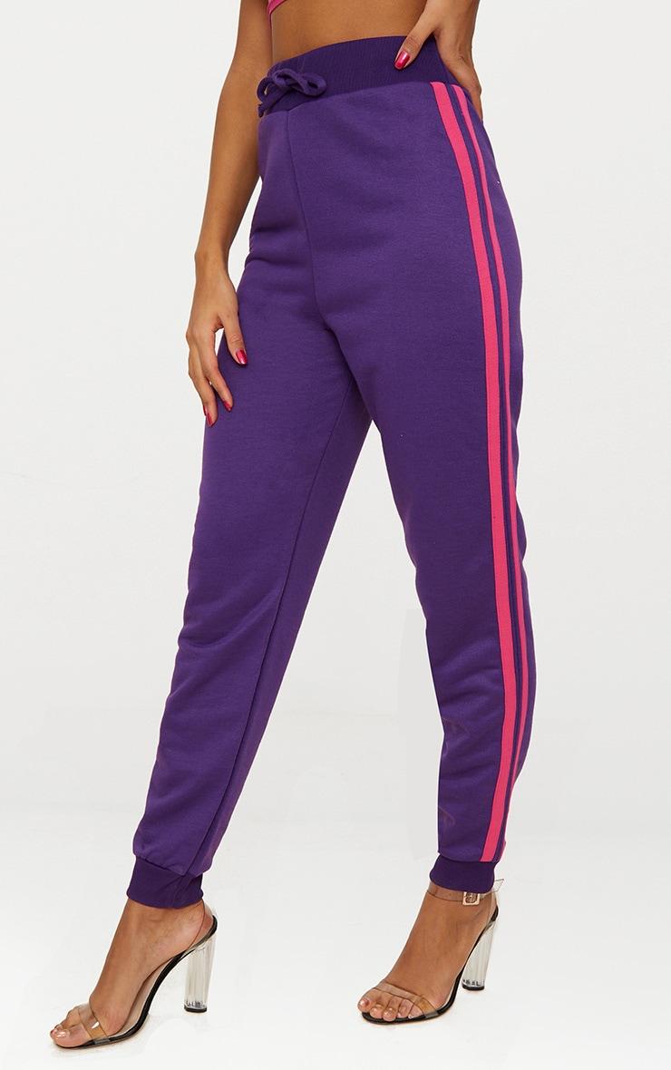 Purple Contrast Stripe Joggers  2