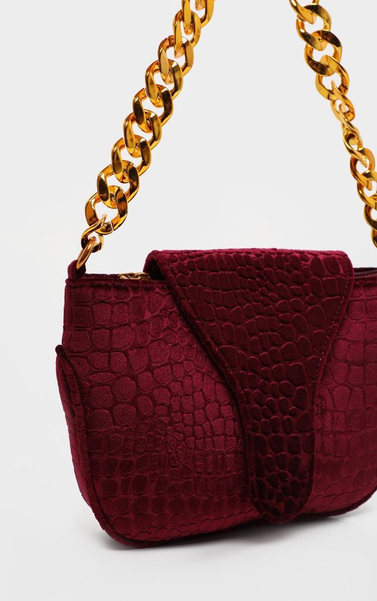 Burgundy Velvet Croc Gold Chain Handbag 2