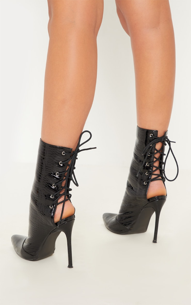 Black Patent Faux Croc Lace Up Back High Boot 2