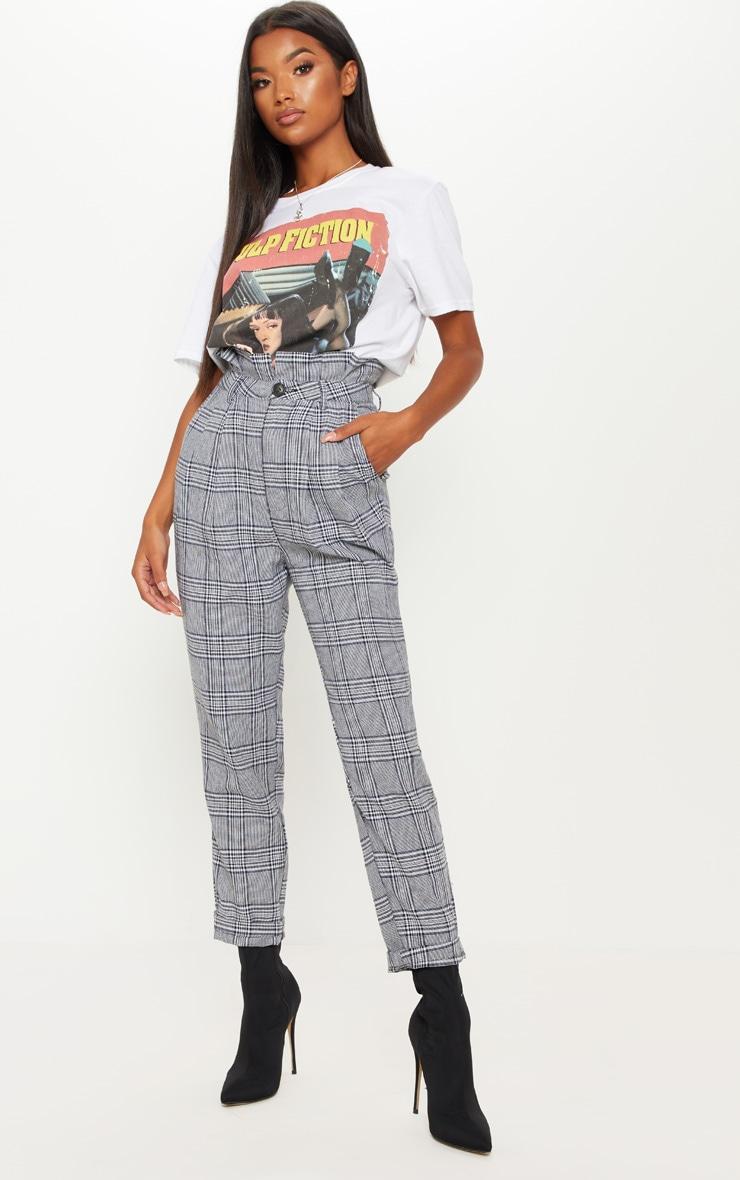 Grey Check Paperbag Pants 2