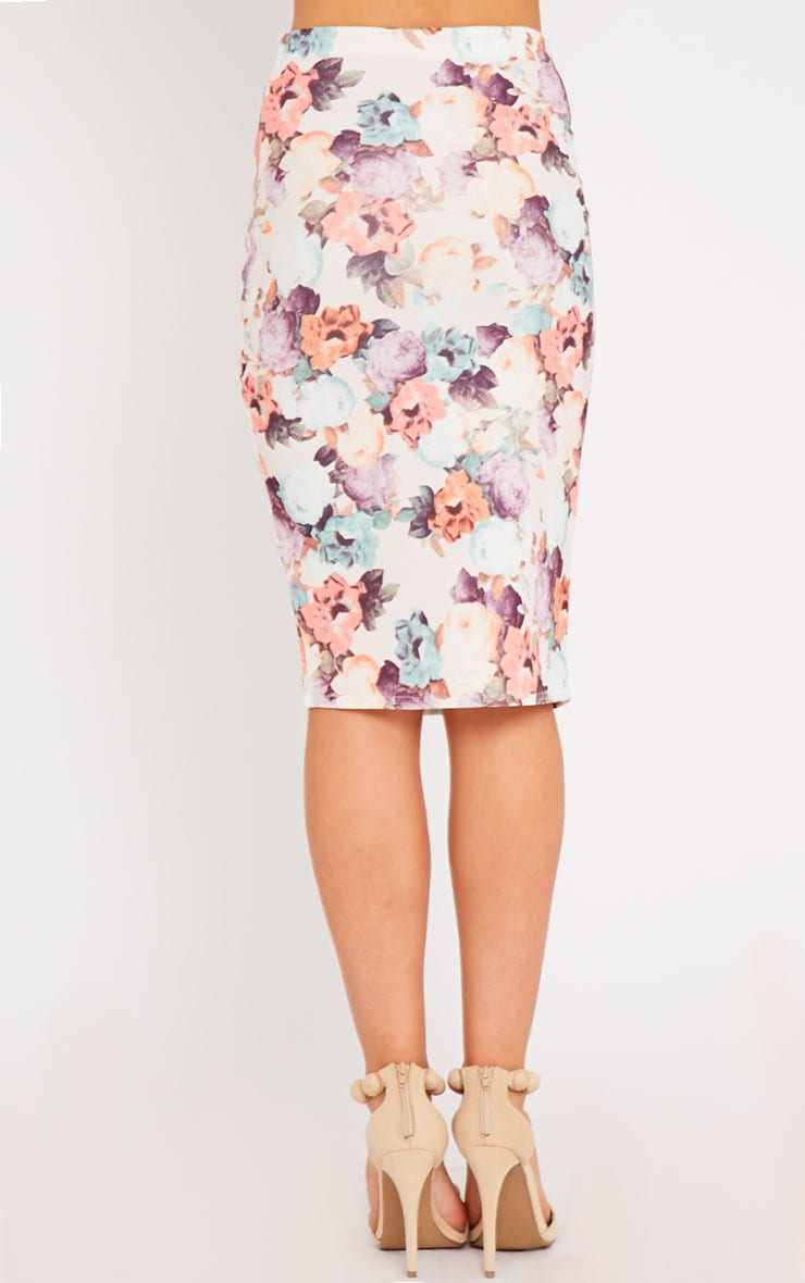Louisa Cream Floral Print Midi Skirt 4