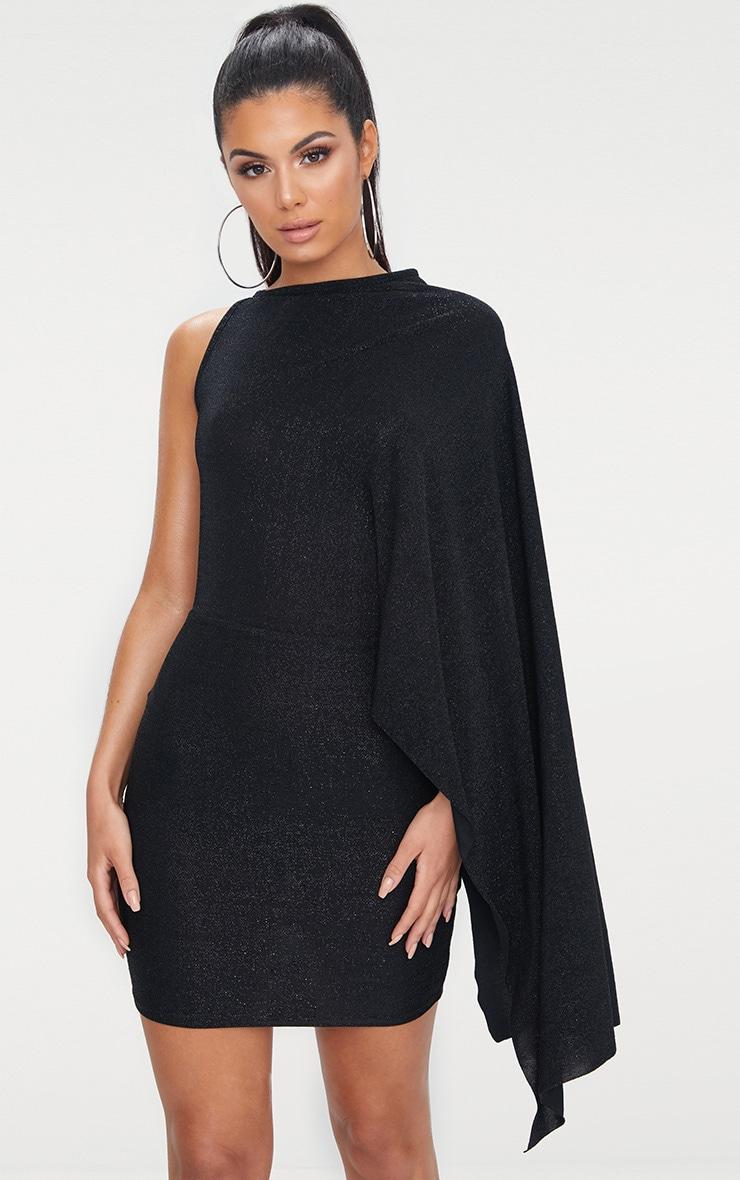 Black Glitter Cape Detail Bodycon Dress 1
