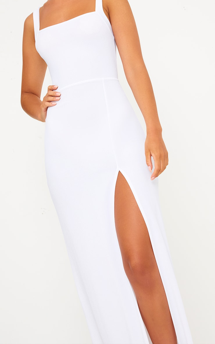 White Straight Neck Maxi Dress 4