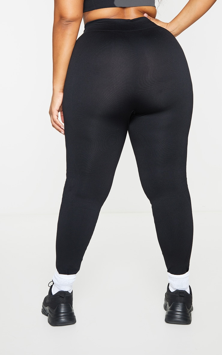 Plus Black Seamless Rib Waist Gym Leggings 2