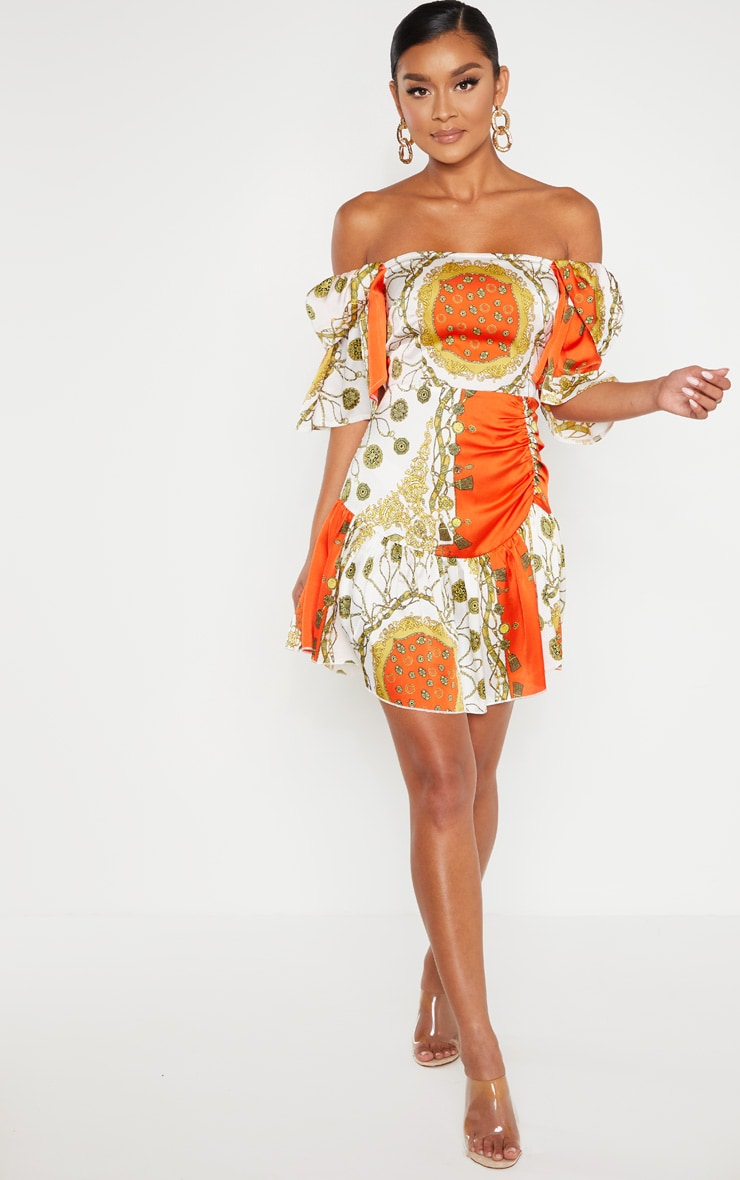 Robe droite orange imprimé chaîne à col bateau  4