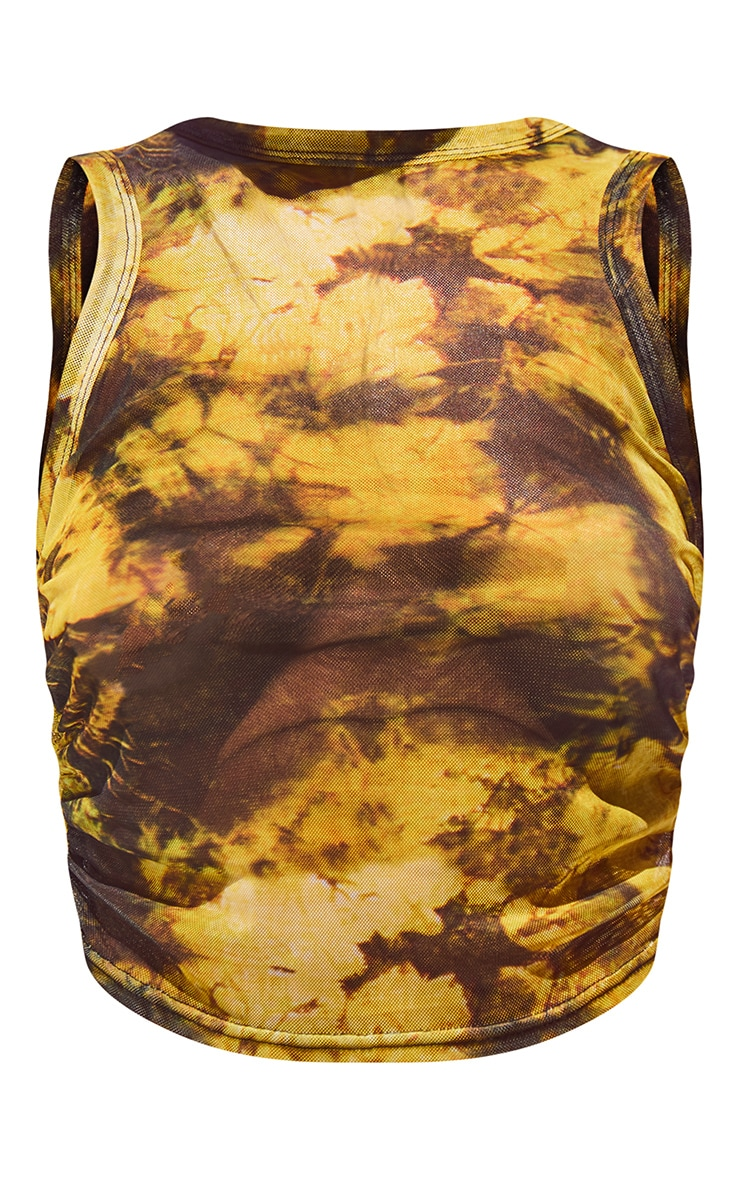 Yellow Acid Wash Printed Mesh Racer Neck Vest 5