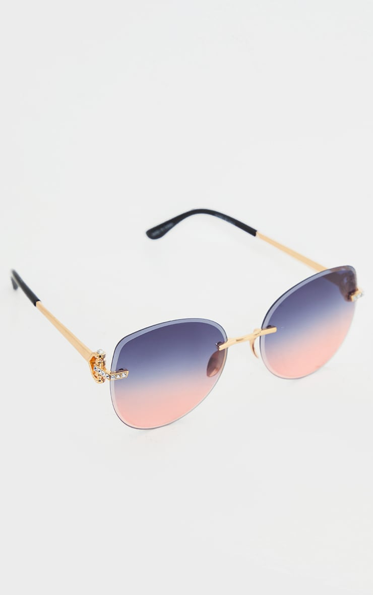 Pink Faded Round Frame Frameless Sunglasses 2