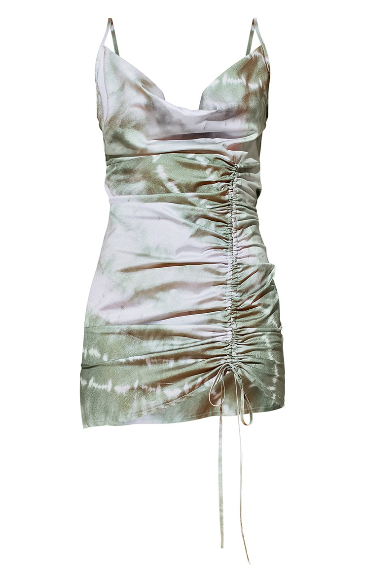 Khaki Tie Dye Cowl Ruched Front Bodycon Dress 5