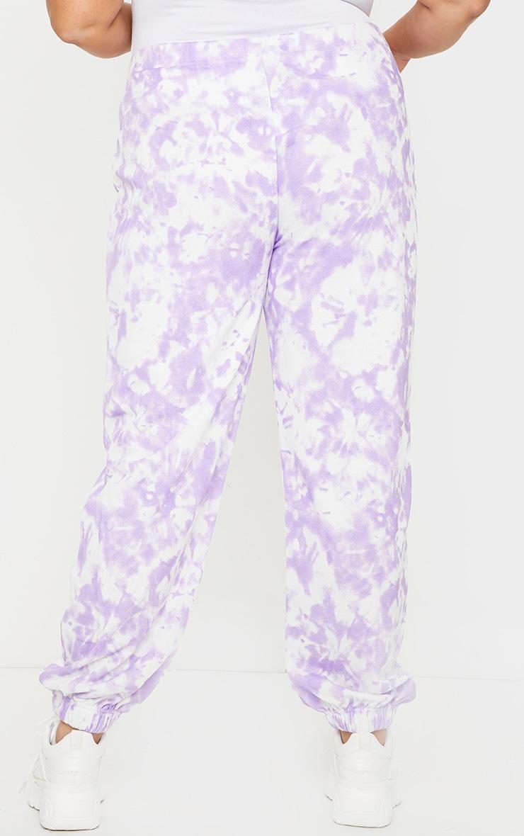 Plus Lilac Tie Dye Basic Cuffed Hem Joggers 3