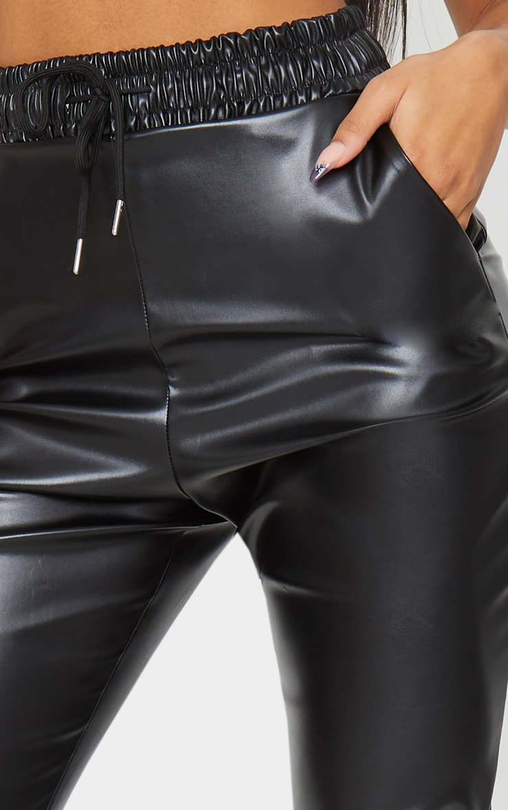 Black Faux Leather Crop Skinny Trousers 4