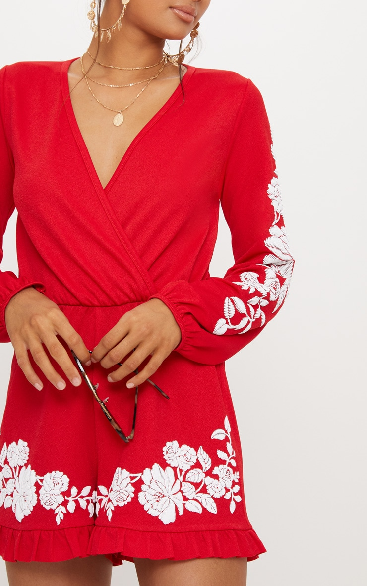 Red Crepe Plunge Puff Printed Playsuit 5