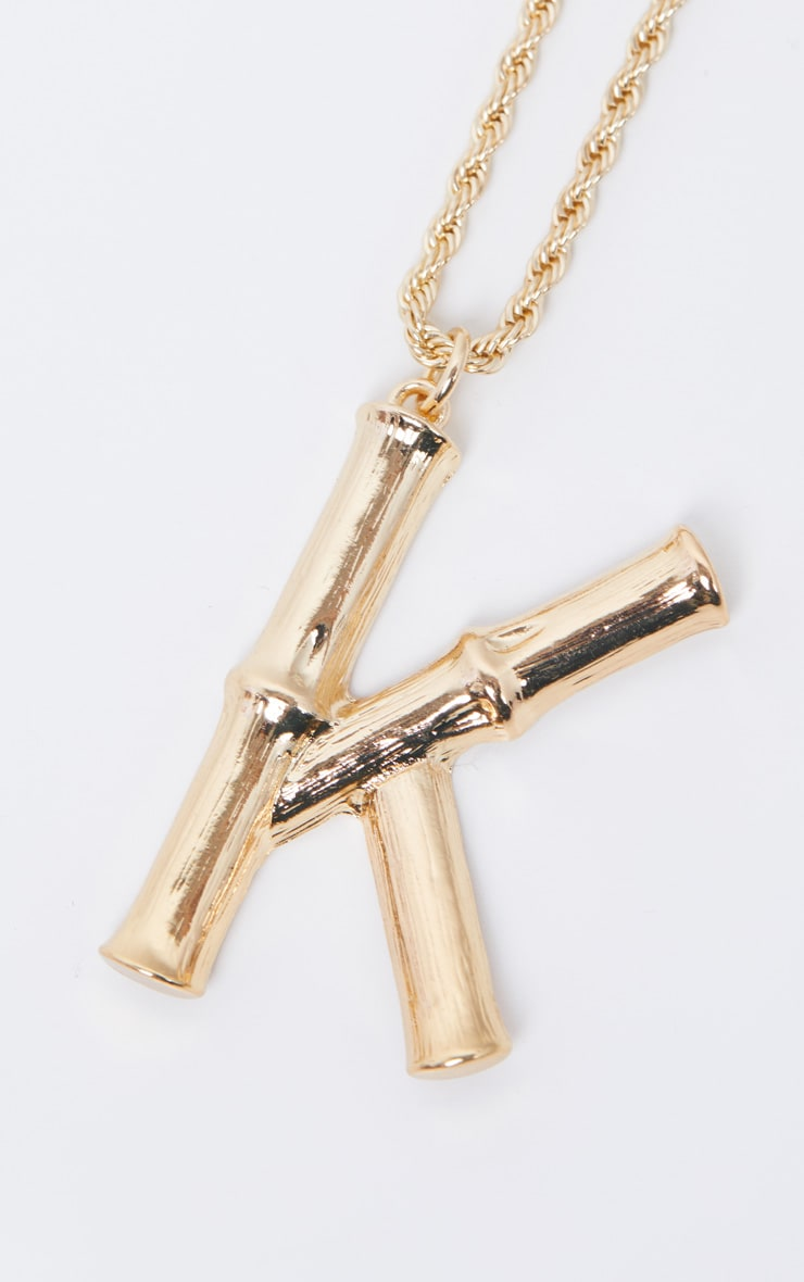 Gold K Bamboo Letter Necklace 4