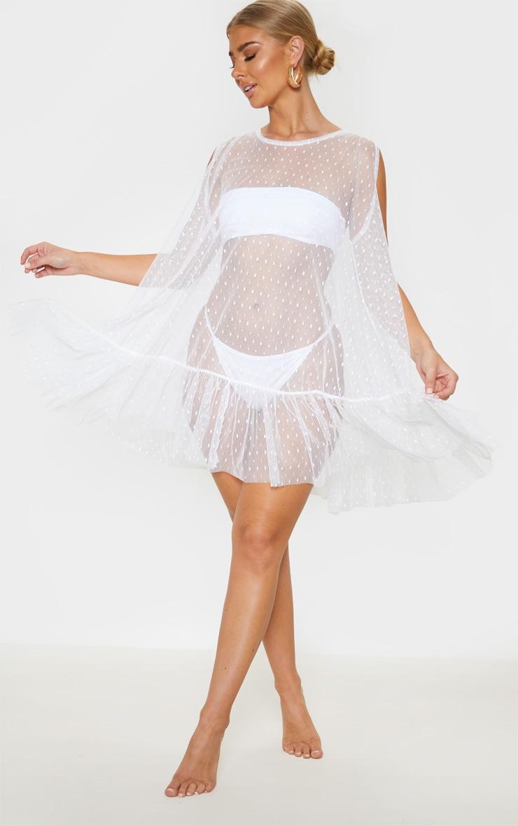 White Dobby Mesh Frill Shift Beach Dress 4