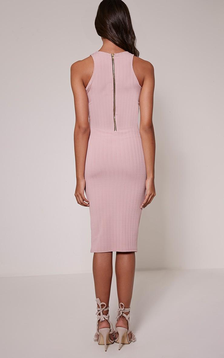 Jazmine Mauve Ribbed Midi Dress 2
