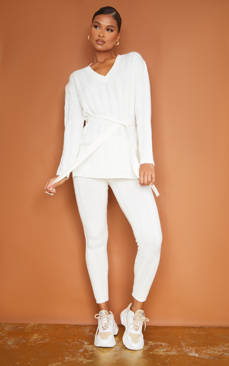 Cream Belted Longline Sweater And Legging Lounge Set 3