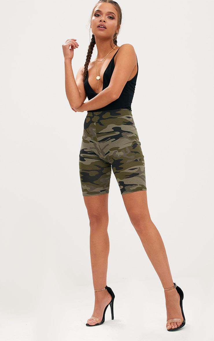 Khaki Camo Print Bike Shorts 5