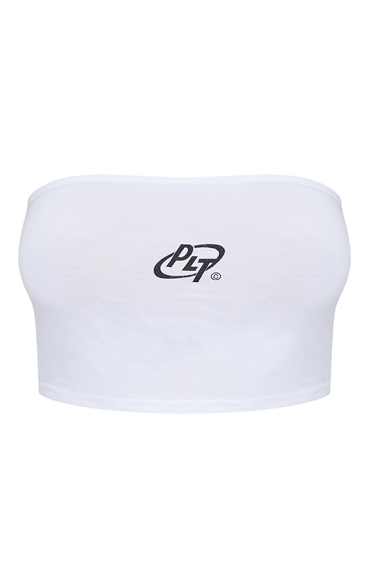 PRETTYLITTLETHING White Circle Logo Bandeau Top 5
