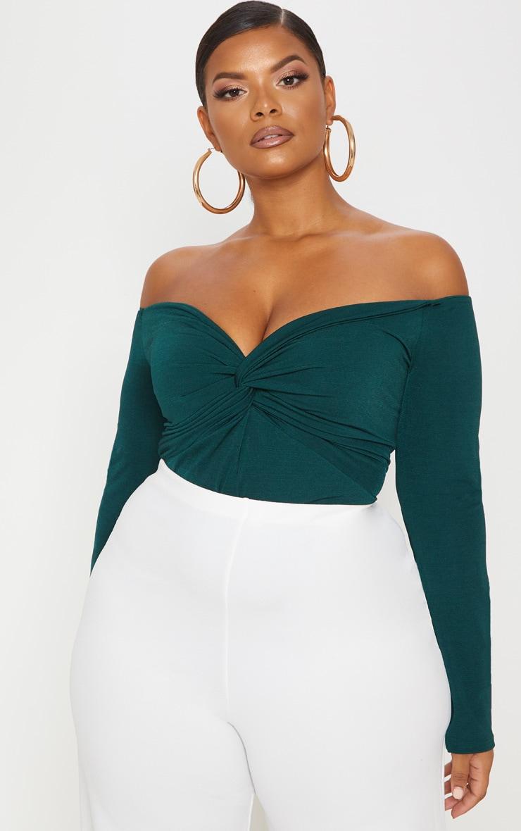 Plus Slinky Emerald Green Twist Front Bardot Bodysuit 1