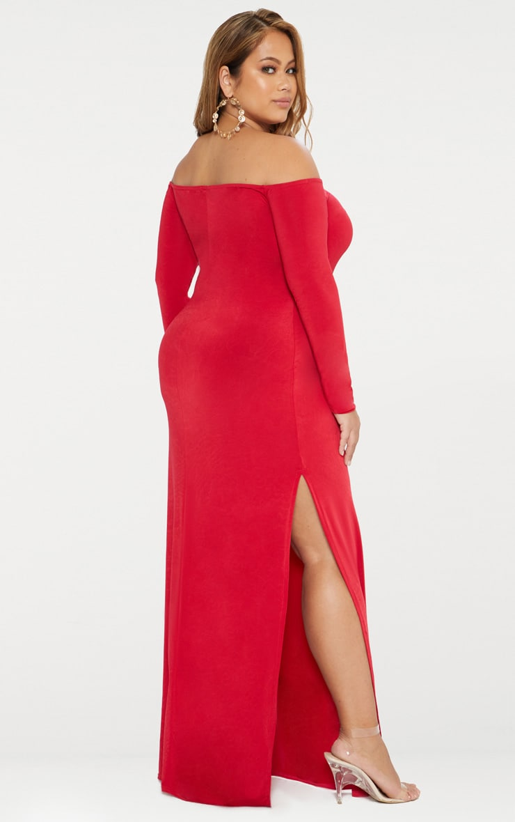 Plus Red Slinky Bardot Maxi Dress 2