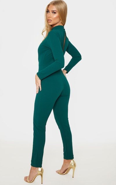 Emerald Green High Neck Keyhole Long Sleeve Jumpsuit