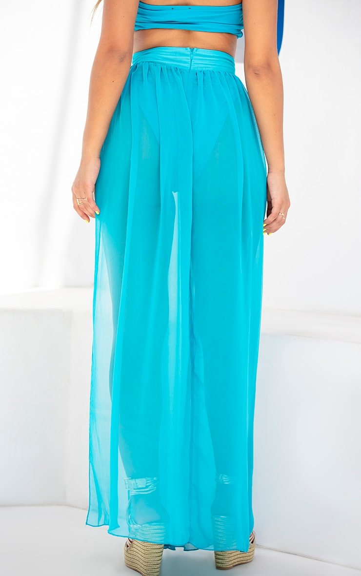 Teal Chiffon Diamante Jewel Beach Skirt 4